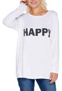 Peace Love World Crew Neck Long Sleeve T Shirt White