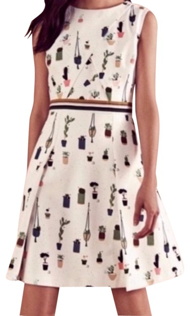 Item - Ivory Multi Print Colour By Number Tetro Fit N Flare Us Short Work/Office Dress Size 4 (S)
