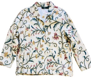 ORVIS Blazer Vintage Embroidery Wool Button Down Shirt ivory