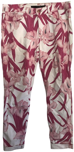 Item - Pink White Floral Tropics. Skinny Jeans Size 29 (6, M)