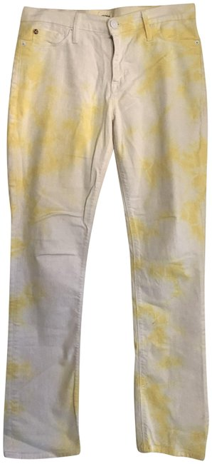 Item - White Yellow Light Wash Straight Leg Jeans Size 29 (6, M)