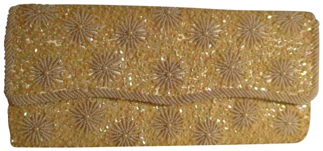 Item - Vintage Beaded & Sequined Ivory Satin Clutch