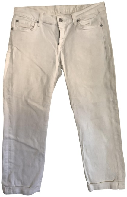 Item - White Light Wash Fold Bottom. Skinny Jeans Size 29 (6, M)