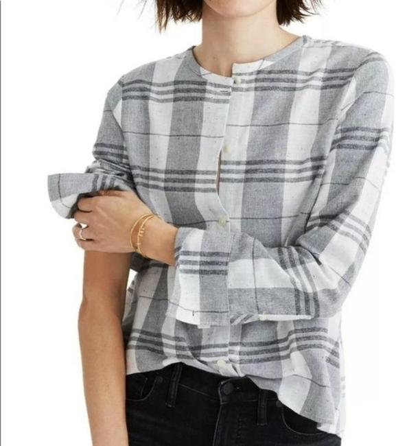 Item - Gray Plaid Collarless Shirt Button-down Top Size 4 (S)