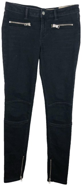 Item - Black Biker Moto Zipper Accents and Ankles Skinny Jeans Size 28 (4, S)
