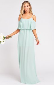Show Me Your Mumu Dusty Mint Polyester Caitlin Ruffle Maxi Feminine Bridesmaid/Mob Dress Size 4 (S)