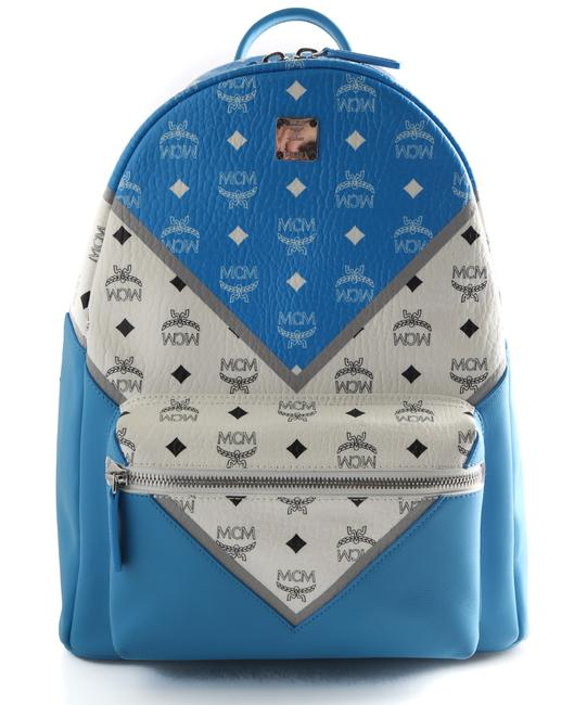 Item - Stark M Move Visetos Medium T Blue Leather Backpack