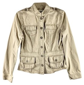 Aeropostale Buttoned Faded Round Collar Utility Military Jacket