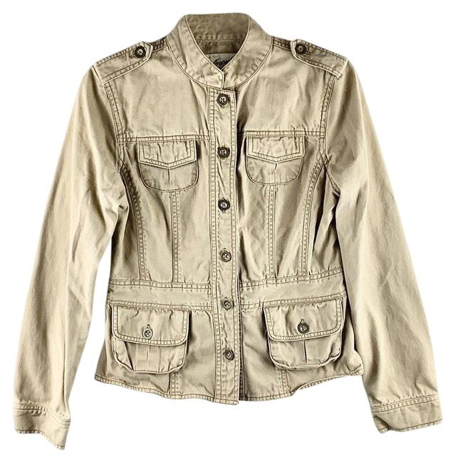 Item - Tan Beige Khaki Faded/Worn Button-up Utility Jacket Size 6 (S)