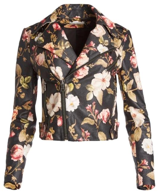 Item - Black / Multicolor And Cody Printed Leather Moto Jacket Size 2 (XS)