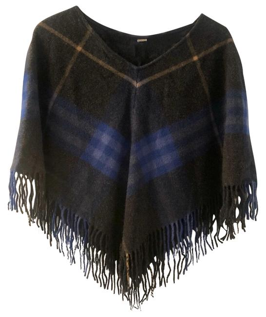 Item - Charcoal Gray Cobalt Blue Camel Plaid Poncho/Cape Size OS (one size)