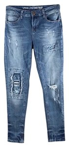 Vanilla Star Floral Patch Distressed Faded Midrise Skinny Jeans-Distressed