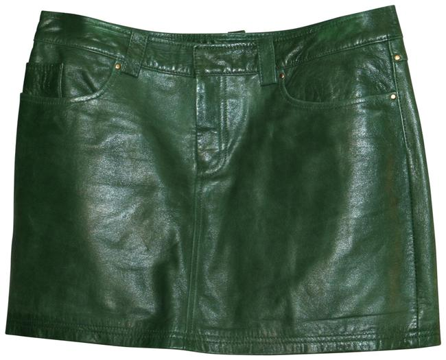 Item - Green Emerald Leather Skirt Size 6 (S, 28)