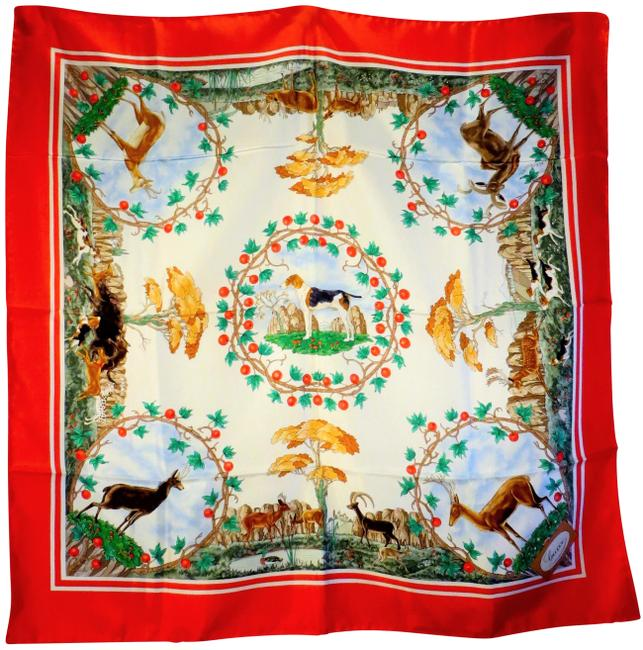 Item - Red Cream Green Vintage Deer Outdoor Themed Silk Scarf/Wrap