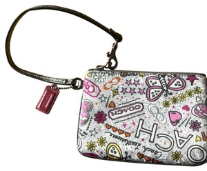 Coach Poppy Butterfly Wristlet in White Graphic Print