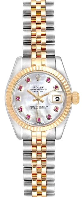 Item - Mother Of Pearl Datejust Steel Yellow Gold Mop Rubies Ladies 179173 Watch