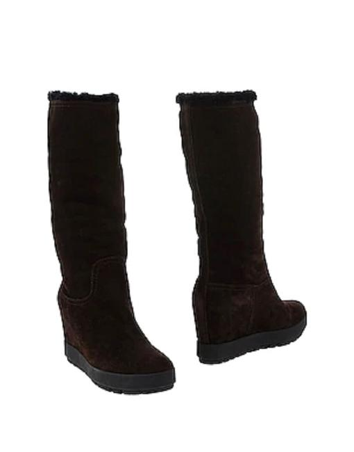 Item - Black Suede Fur Lined Calf High Wedge Boots/Booties Size EU 40 (Approx. US 10) Regular (M, B)