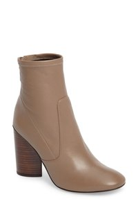 Mercedes Castillo Stretch Stcked Round Heel Back Zip Round Toe Taupe Boots