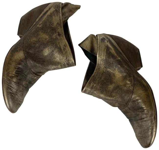 Item - Gold Distressed Metallic Ankle Mules Clogs Boots/Booties Size EU 38 (Approx. US 8) Regular (M, B)