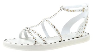 Burberry Studded Leather Sandal White Flats