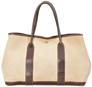 Hermès Garden Party Canvas Shopper Tote in Brown and Beige