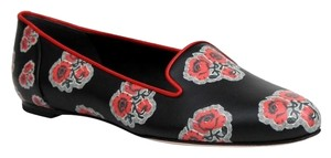 Alexander McQueen Women's Rose Pattern Leather Slipper Black Pumps