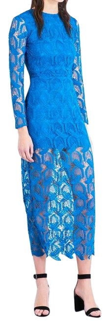 Item - Blue Rosane Guipure-lace and Crepe Midi Long Night Out Dress Size 4 (S)