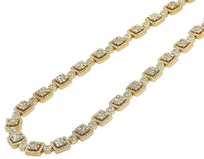 """Item - 14k Yellow Gold Baguette Square Halo Cluster Diamond Chain 16.9ct 9mm 22"""" Necklace"""