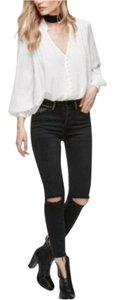 Free People Distressed Studded Studs Frayed Skinny Jeans