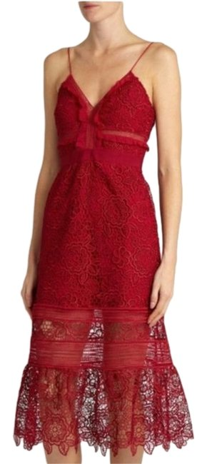 Item - Red Blush Lace Mid-length Formal Dress Size 6 (S)