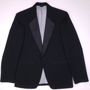Dior Black Vintage Tuxedo Jacket 35s One Button Formal Mens Shirt