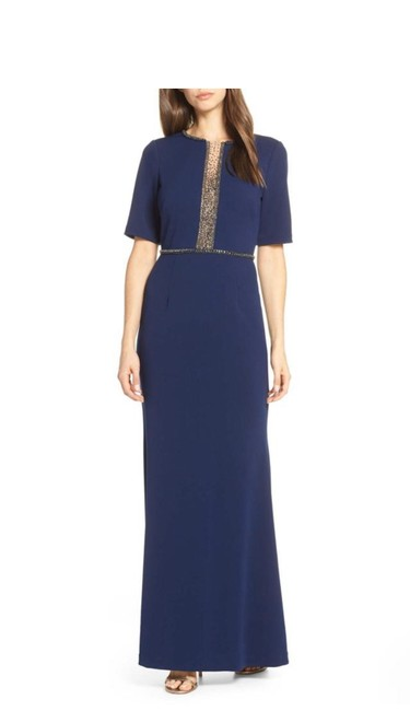 Item - Navy Blue Beaded Crepe Evening Long Formal Dress Size 2 (XS)