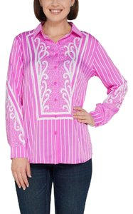 Bob Mackie Pinstriped Print Button Front Top Pink