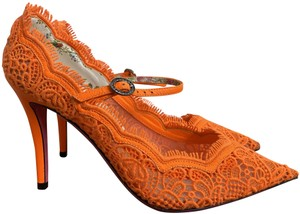 Gucci Lace Pointed Toe Ankle Strap Crystal Orange Pumps