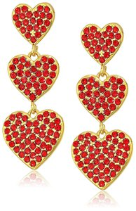 Kate Spade Yours Truly Triple Heart Dangle Earrings New with Tags