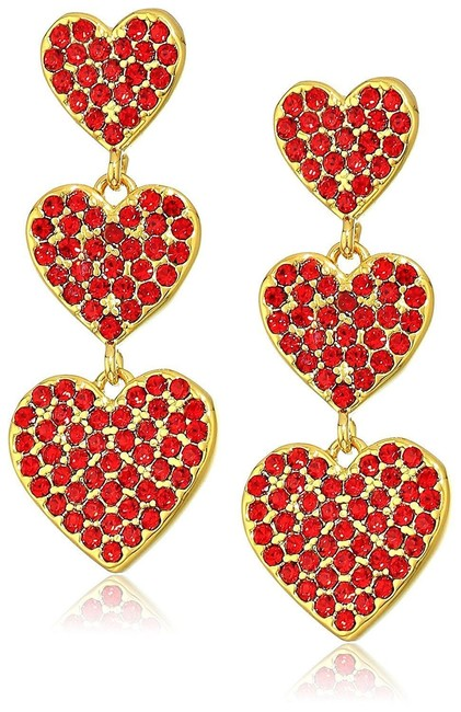 Kate Spade Red Yours Truly Triple Heart Dangle New with Tags Earrings Kate Spade Red Yours Truly Triple Heart Dangle New with Tags Earrings Image 1