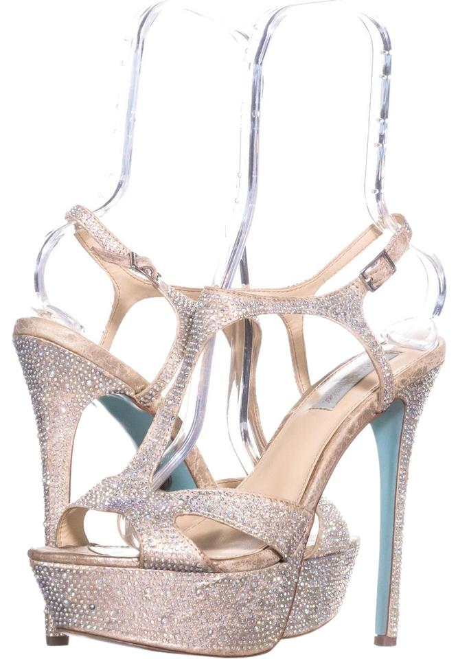 Betsey Johnson Gold Blue By Crush T Strap Dress Sandals 958