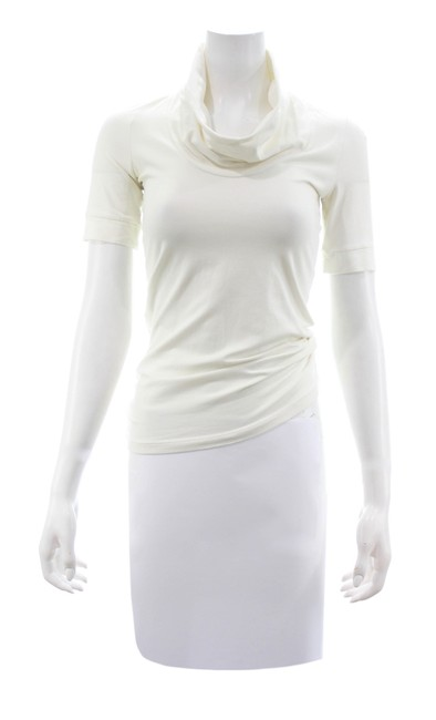 Item - White Short Sleeved Cotton Blend Cowl Neck Tee Shirt Small Blouse Size 4 (S)