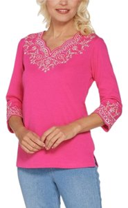Quacker Factory Lacey Scallop Embroidered 3/4 Sleeve Top Pink
