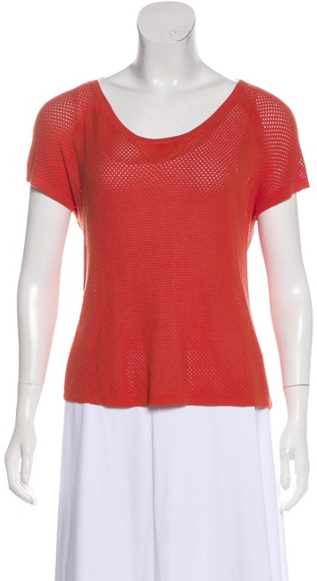 Item - Red Mesh Short Sleeve Large Blouse Size 12 (L)