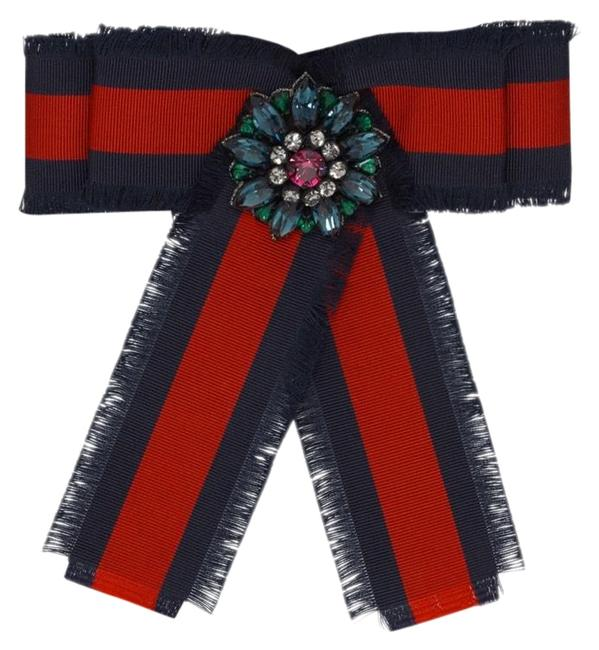 Item - Red and Navy Blue Web Grosgrain Bow Brooch