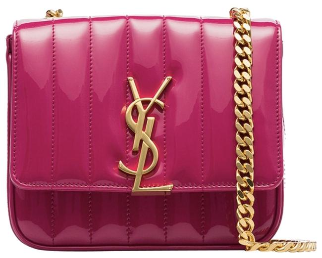 Item - Kate Shoulder Vicky Ysl Monogram Freesia Matelasse Gold Logo Pink Patent Leather Cross Body Bag