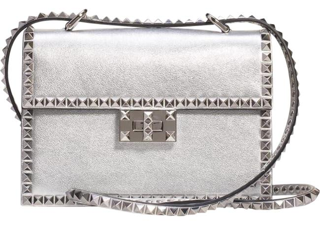 Valentino Small No Limit Studded Stud Metallic Shoulder Silver Leather Cross Body Bag Valentino Small No Limit Studded Stud Metallic Shoulder Silver Leather Cross Body Bag Image 1