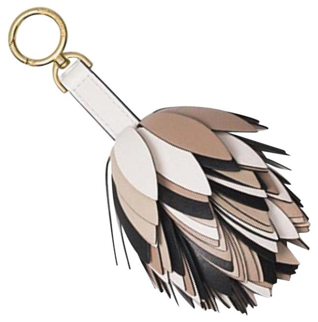 Item - Chain Tassel Key Charm Fob Tan/Black/Brown/White Leather Shoulder Bag