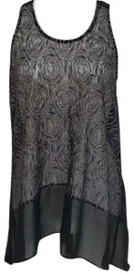 Charming Charlie And Sleeveless Sheer High Low Top Black & Silver