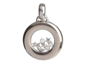 Chopard WHITE GOLD 18K FLOATING MOON AND STARS HAPPY DIAMONDS PENDANT