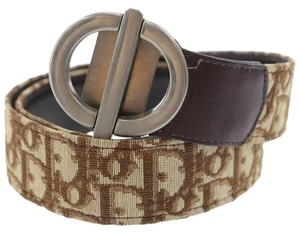 Dior Dior brown trotter print/leather belt w/ chrome CD buckle