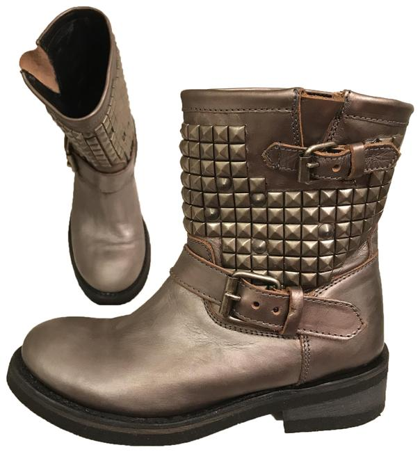Item - Silver Gunmetal Pewter Biker/Motorcycle Distressed Leather Studded Boots/Booties Size EU 38 (Approx. US 8) Regular (M, B)