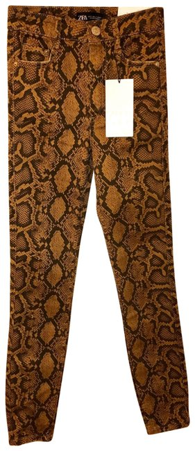 Item - Black/Brown/Tan Coated Snake Print High Rise Skinny Jeans Size 2 (XS, 26)