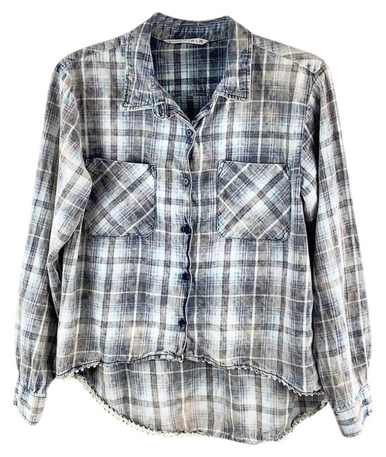 Item - Gray White Blue High-low Faded Distressed Lace Trim Button-up Shirt Button-down Top Size 8 (M)